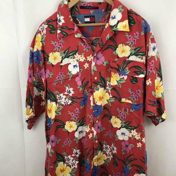 Tommy Hilfiger Men's Hawaiian Shirt Red with Flowe